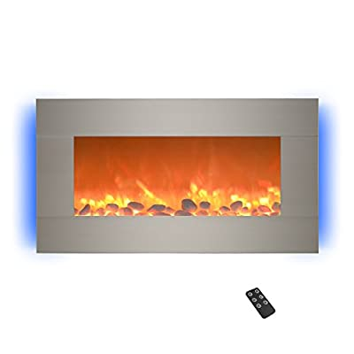 """Home Electric Fireplace- Wall Mounted with 13 Backlight Colors Adjustable Heat and Remote Control-31 inch by Northwest (Brushed), 31"""", Sterling Silver"""