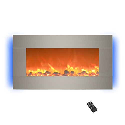 Cheap Home Electric Fireplace- Wall Mounted with 13 Backlight Colors Adjustable Heat and Remote Control-31 inch by Northwest (Brushed) 31