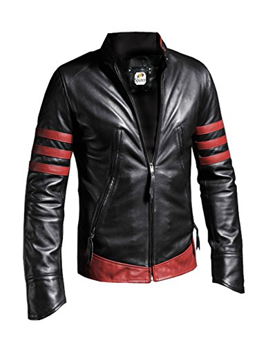 Sputer X-Men Origins Wolverine Black w Red Stripes Distressed Leather Jacket, X-Large, Black