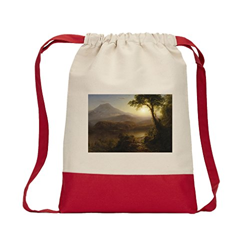 Tropical Scenery (Church) Canvas Backpack Color Drawstring Bag - Red by Style in Print