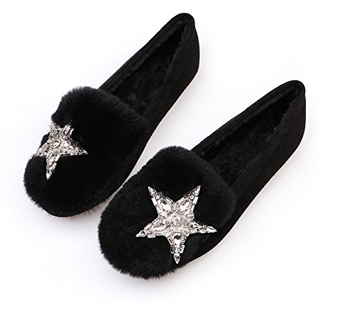 Women Flat Shoes Black Slippers With Satr Decoration Soft Warm Loafers Fluffy Moccasin QZUnique Rhinestones EfRdqf