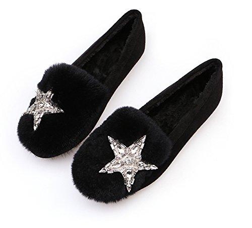 Qzunique Vrouwen Zachte Platte Instappers Schoenen Zachte Warme Mocassin Slippers Met Satr Strass Decoratie Zwart