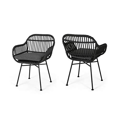 - Great Deal Furniture 309283 Rodney Indoor Woven Faux Rattan Chairs with Cushions (Set of 2), Dark Gray Finish