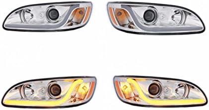 Pair Chrome Projection Headlights w// Dual Function LED Light Bar for Peterbilt
