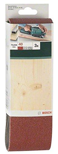 Bosch 2609256204 Set de 3 bandes abrasives pour Ponceuse /à bande 75 x 457 mm Grain 40