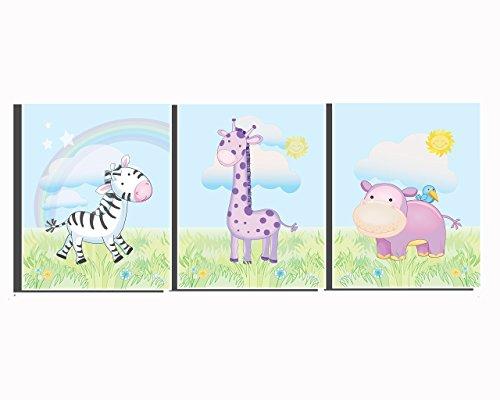 Nursery Animal Set of 3 Unframed Prints Baby Girl's Room Décor Pink Purple Giraffe Wall Art Safari Animal Pictures Zebra Baby Shower Gift Pink Purple 8 x 10 inch