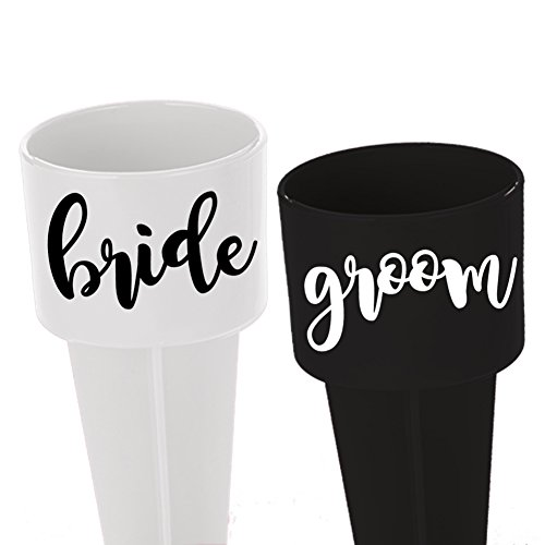 Bride and Groom SPIKER - beach cup holder - bride to be - SET OF TWO