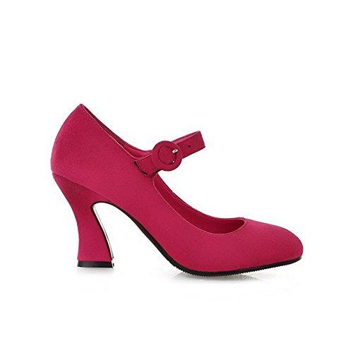 Couleur Unie à VogueZone009 Talon Légeres Rond Cramoisi Chaussures Haut Dépolissement Boucle Femme BqrqnI80