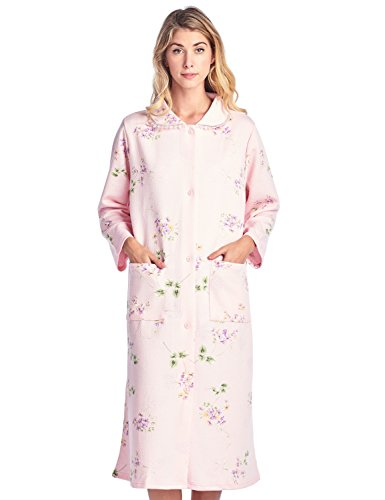 Casual Nights Women's Long Quilted Robe House Dress - Floral Pink - (Womens Quilted Button)