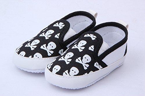 JTC Baby Crawl Crib Skull Printed Slip- On Leisure Single Shoes (Length:Approx 4.5'', Black)