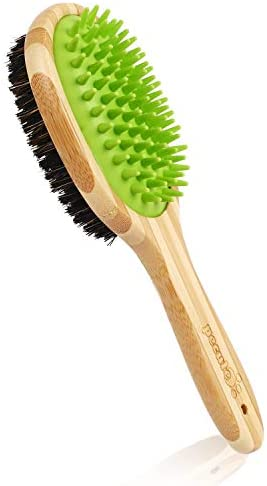 Pecute Double Sided Pet Massage Bath Brush – 2 in 1 Silicone Needle and Natural Bristle Bamboo Comb – Removes Loose Fur & Dirt – Great for Cats Dogs Short to Long Fur Massaging Bathing