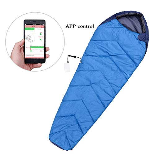 FIRSERMO Electric Heated Sleeping Bag Mummy Outdoor Lightweight Portable Waterproof Temperature Range 15-50F 5V 2A Heated to 107F Smart APP Control for Adults Camping Hiking