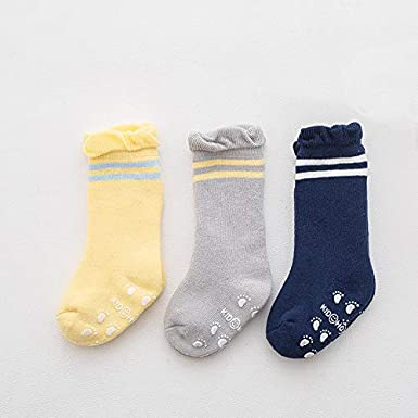 HOYMN 6 Paires de Chaussettes de Non-d/érapage B/éb/é Tout-petits Enfant Gar/çon Fille Chaussettes Antid/érapantes Socquettes Coton 0-3 Ans