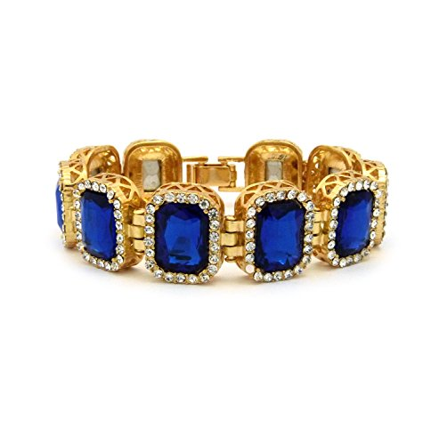 Blue Sapphire Square Bracelet (Gold Blue Tone Square Sapphire Gemstone 8.25