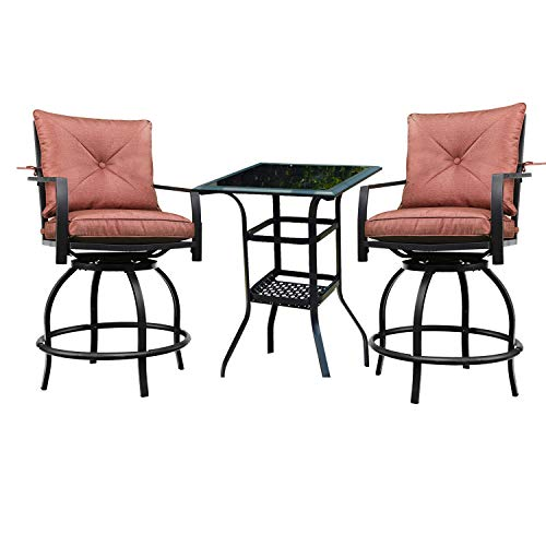 PatioFestival Outdoor Bar Stools Bar Height Patio Chairs Swivel Bar Stool Patio Furniture Tall High Counter Chair Bistro Set with Glass Top Table Back Padded Cushion for Balcony Pub (3Pcs, Red)