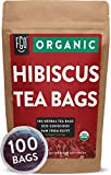Organic Hibiscus Tea Bags | 100 Tea Bags | Eco-Conscious Tea Bags in Foil Lined Kraft Pouch | Raw from Egypt | by FGO