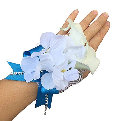 (Angel Isabella Wrist Corsage-White Real Touch Calla Lily,Silk Hydrangea with Turquoise Ribbon-Ready to Use)