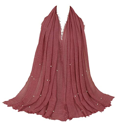 LMVERNA crinkled scarf hijab Women wrinke cotton beads scarves fashion long wraps scarf (Skin Red) (Jersey Beaded Cotton)