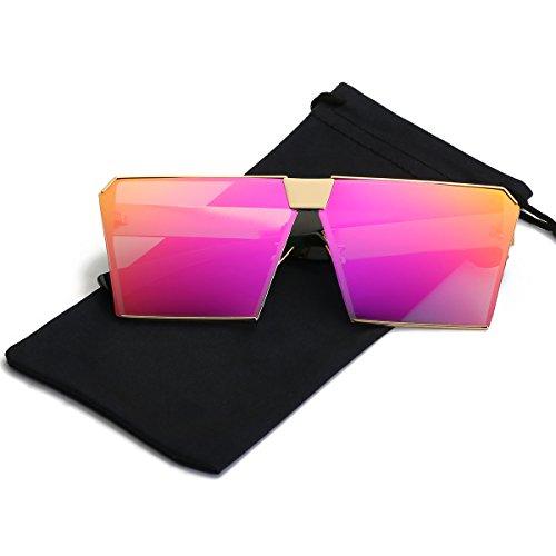 LKEYE - Unique Oversize Shield Vintage Square Sunglasses LK1705 Gold Frame/Rose Lens (Vintage Oversized Sunglasses)
