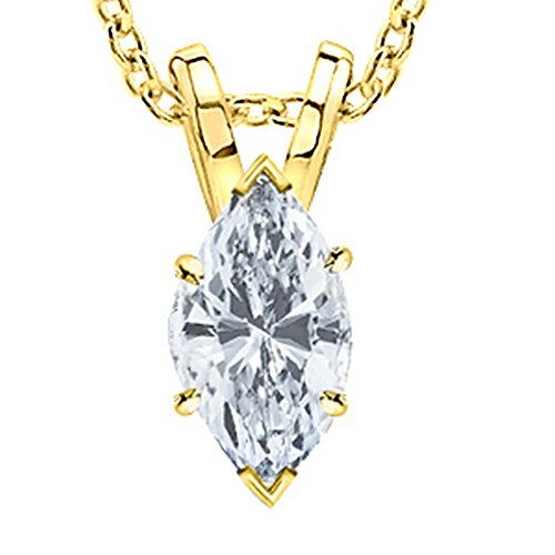 (0.51 Carat 14K Yellow Gold Marquise Diamond Solitaire Pendant Necklace I Color VS2 Clarity)