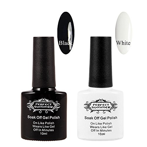 Perfect Summer New 10ml Black and White Colors Gel Nails Pol