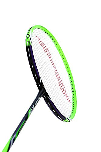 LI-NING Badminton Racket Turbo Series Player Edition Badminton Racquet Light Weight Carbon Graphite Shaft 80+ GMS with Full Carrying Bag Cover (X80-Green)