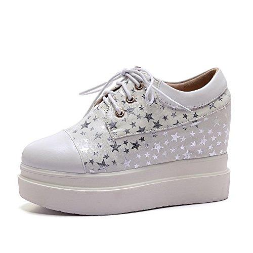 Amoonyfashion Donna Tacco A Spillo Gonfi Assortiti Colore Scarpe-scarpe Bianche