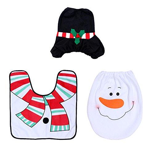 Weihnachten dekorative Toilette Set - 3pcs Happy Holiday Spirit Weihnachten WC Sitzbezug Teppich Badezimmer Set / Kreative Toilettensätze / Warm Weihnachten dekorative Layout der Toilettensätze,Schneemann