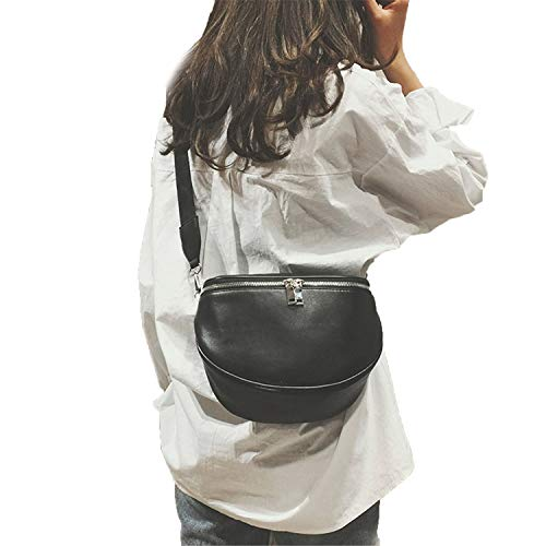 Londony♪ Leather Pockets Fanny Pack, Waist Pack with Adjustable Strap for Outdoors Workout Traveling Casual Hiking Black