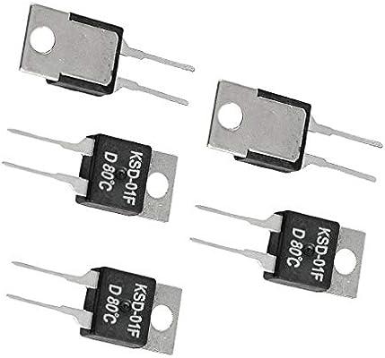 Aexit 5 x KSD-01F 80 Celsius NC Termostato de interruptor de ...
