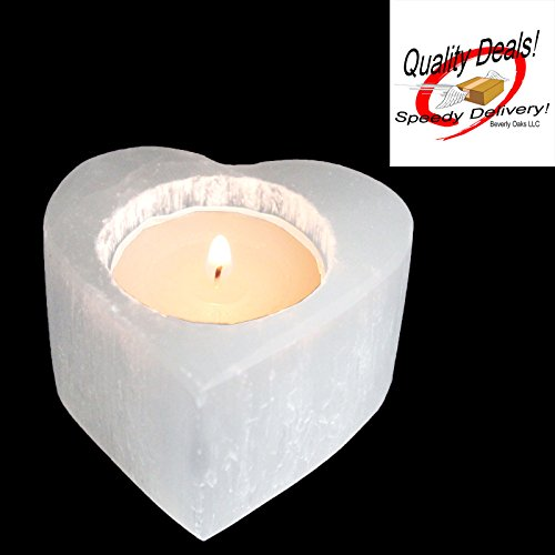 - One (1) White Heart Selenite Candle Holder Spiritual Healing Beverly Oaks Exclusive with Certificate of Authenticity