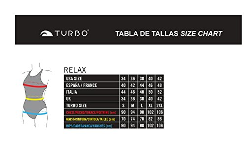 Turbo - Bañador Mujer FLOWER (Patron Relax) Tira estrecha doble capa (L)