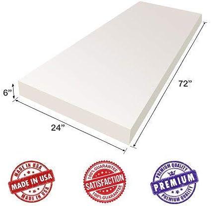 6 H x 24 W x 72 L AK Trading Upholstery Foam High Density Cushion Seat Replacement Foam Sheet Foam Padding
