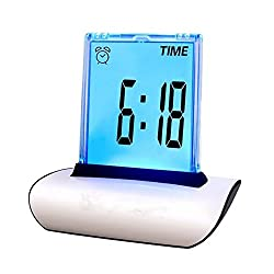 Zorvo Digital Alarm Clock Small Table Desk Clock 7 LED Color Changing Digital LCD Thermometer Calendar Alarm Clock Best Gift For Kids