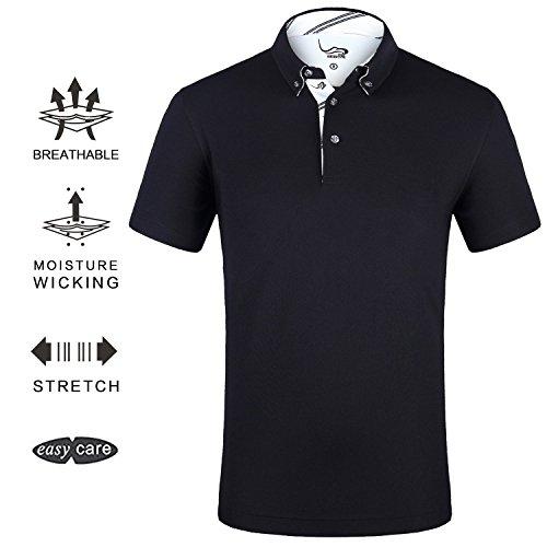 EAGEGOF Men's Shirts Black Short Sleeve Tech Performance Golf Polo Shirt Loose Fit Large (Polo Short Golf Shirt Sleeve)