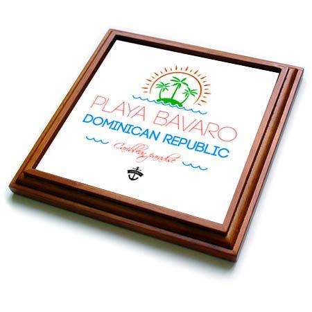 3dRose Alexis Design - Caribbean Beaches - Playa Bavaro, Dominican Republic, Caribbean paradise text, image - 8x8 Trivet with 6x6 ceramic tile (trv_304036_1) Dominican Republic Caribbean Framed
