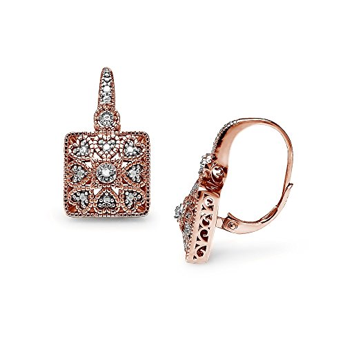 Rose Gold Flashed Sterling Silver Square Filigree Diamond Accent Leverback Drop Earrings, IJ-I3