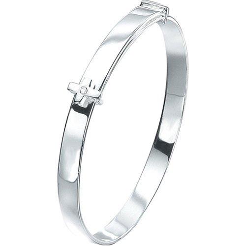 Silver D For Diamond Adjustable Cross Baby Bangle - Christening Gift Veluxio Europe