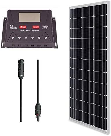 Renogy 100 Watt 12V Monocrystalline Solar Bundle Kit With 30A PWM Charge Controller