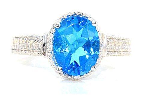 10x8mm CZ Swiss Blue Topaz & Diamond Oval Ring .925 Sterling Silver Rhodium Finish Blue Topaz & Diamond Oval Ring