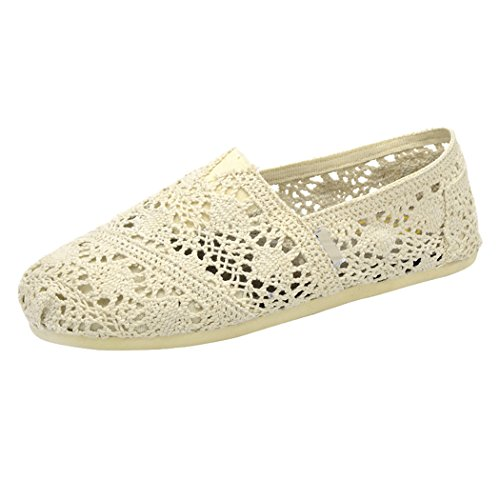 Sun Lorence Womens Canvas Crochet Slip on Shoes Flats Beige aLtZNqN
