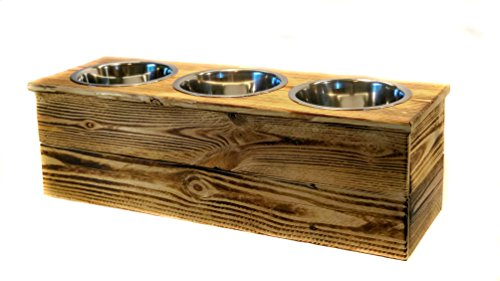 Triple Large Elevated Dog Dish // Large 3 Bowl Feeding Stand // Dog Dish // Elevated Dog Bowl