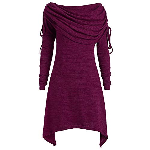 KIKOY Women Plus Size Pretty Long Sleeve Fold-Over Collar Ruched Long Tunic Tops