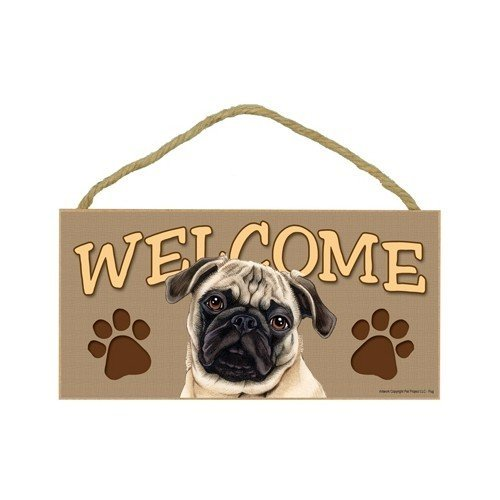 Pug (Brown/tan color) Wood Welcome Door Sign 5''x10'' ()