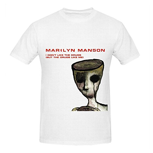 Marilyn Manson I Dont Like The Drugs But Me Rock Men Screen Printed Shirts White