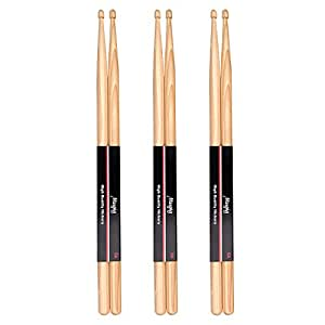 Mugig Drum Sticks 5A Sticks for Jazz Pop Rock Music Hickory Wood Drum Kit Accessories(3 Pairs)