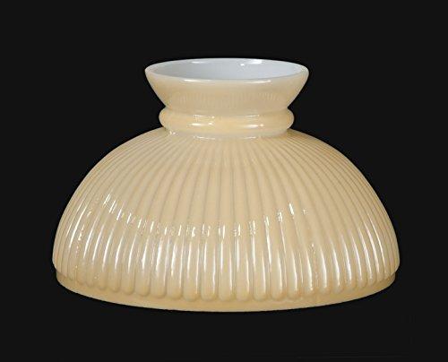 B&P Lamp Opal Glass Student Shade, Ribbed Design Nu-Gold Tint