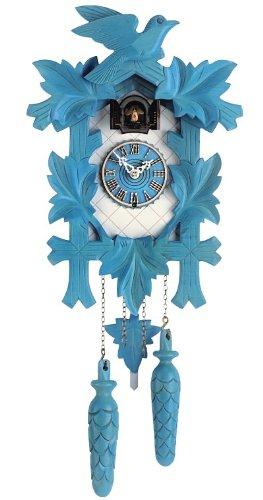 'isdd Cuckoo Clock Tu 350 20 Q Quarz-Uhr CUCÚ, Design 5 follajes, Vogel, Blau