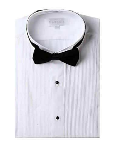Marquis Men's Wingtip Collar Tuxedo Shirt (Black Bowtie Included) - White 16.5 34/35
