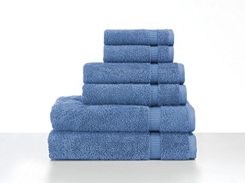 Organic Cotton Bath Towel (Turkish Luxury Hotel & Spa Collection 2 Bath, 2 Hand, 2 Washcloth Set of 6 Turkish Cotton - Organic, Eco-Friendly (6 Piece Set, Blue))